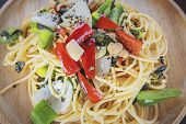 Spaghetti. Tomato Sauce And Vegetables poster