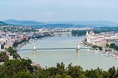 Panoramic Skyline View Of The Danube In Budapest With Famous Szechenyi Chain Bridge, Margaret Bridge poster