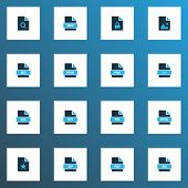 Document Icons Colored Set With File Exe, File Rtf, Document And Other Backup Elements. Isolated  Il poster