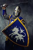 image of medieval  - Medieval knight in attack position - JPG