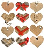 collection of cardboard card in a shape heart isolated on white background