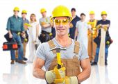 Group of industrial workers with yellow helmet isolated over white background.