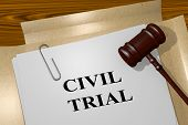 3d Illustration Of Civil Trial Title On Legal Document poster