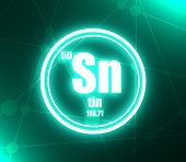 Tin Chemical Element. Sign With Atomic Number And Atomic Weight. Chemical Element Of Periodic Table. poster