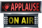 picture of applause  - Big bright ON AIR and APPLAUSE signs for your theater broadcasting studio website banner ad and music needs - JPG
