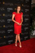 LOS ANGELES - JAN 14:  Stana Katic arrives at  the BAFTA Award Season Tea Party 2012 at Four Seaons