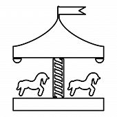 Carousel Roundabout Merry-go-round Vintage Merry-go-round Icon Black Color Outline Vector Illustrati poster