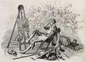 Old illustration depicting a painter daydreaming in his atelier. By unidentified author, published on Magasin Pittoresque, Paris, 1845