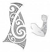 Maori style tattoo design fit for a forearm.