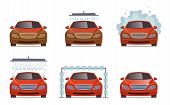 Car Wash. Transport Automobile Water Wash Service Vector Collection Set. Illustration Of Automobile  poster