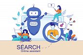 Mobile And Pc Smart Search Online Assistant Welcoming On Display. Human Chating In Messengers, Searc poster
