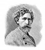 Academician of painting Trutovsky. Engraving by Shyubler. Published in magazine