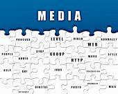 Puzzle-Stücke mit Medien Bedingungen auf sie geschrieben