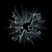 Broken Window Glass. Broken Windshield, Shattered Glass Or Crack Windows. Shards Of Computer Screen  poster