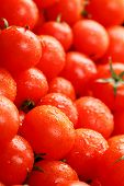 Fresh Cherry Tomatoes With Closeup. Background Red Tomatoes. Macro. poster