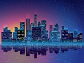Night City With Skyscrapers Background. Blue Background With Start, Water, Modern Buidings, Skyscrap poster