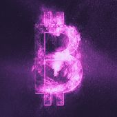 Bitcoin Sign. Bitcoin Symbol. Crypto Currency Symbol. Monetary Currency Symbol. Abstract Night Sky B poster