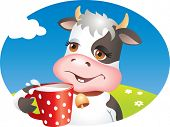 Funny cartoon cow drinking cup of milk. Lawn, flowers and sky. Vector illustration