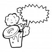 dustbin with speech bubble cartoon