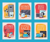 Home Appliances Sale Cards Flat Illustration Vector. Modern Technology House Machine Equipment. Dome poster