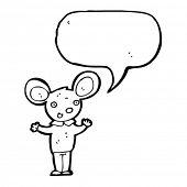 ratón feliz con dibujos animados de burbujas de discurso