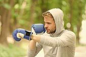 Attack Or Defend Always Be Ready. Sportsman Concentrated Training Boxing Gloves. Athlete Concentrate poster
