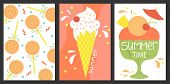 Set Of 3 Posters Of Summertime. Vector Design Concept For Summer. Ice Cream, Summer Sweets. poster