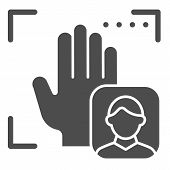 Palm User Recognition Solid Icon. Focus With Hand Print Vector Illustration Isolated On White. Perso poster