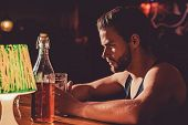 Taking Beer Really Seriously. Handsome Man Drink Beer At Bar Counter. Alcohol Addict With Beer Mug.  poster