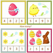 Counting Educational Children Game. How Many Objects Task. Easter Theme Activity For Toddlers And Ki poster