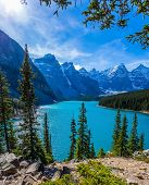Canadian Rockies, Province of Alberta, Park Banff. Lake Moiraine in the Valley of the Ten Peaks. The poster