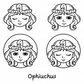 Ophiuchus Astrology Sign. 13 Sign Astrology. Set Of Horoscope Signs As Women. Zodiac For Girls. Illu poster