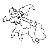 Halloween Unicorn With Magic Wand And Witch Hat. Cute Doodle Art Of Magic Creature. Illustration Iso poster