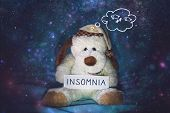 Insomnia, Sleeplessness, Sleep Disorder, Trouble Sleeping, Mental Exercise Concept. Soft Toy Dog In  poster
