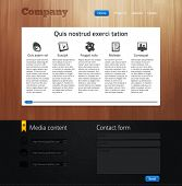 Website design template with wood and leather