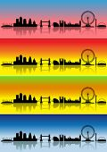 London silhouettes in different colours representing four seasons