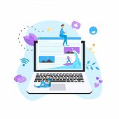 Surfer Surfing A Wave Web Page Vector Illustration. Web Page Surfing Concept. poster