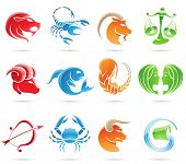 Glossy zodiacs isolated on a white background