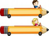 Banner Illustration Featuring Kids Driving a Pencil-Shaped Car