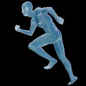 High resolution concept or conceptual 3d male or man running over a black background as a metaphor
