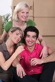 three housemates moving into new house