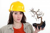 Tradeswoman incierto sosteniendo una planta de los bonsais