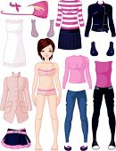 Paper doll with clothing set