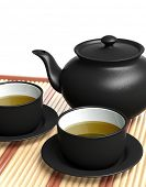 Black teapot and teacups on wooden tray