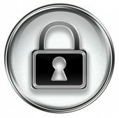 stock photo of locksmith  - Lock icon grey isolated on white background - JPG