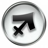 Sagittarius Zodiac Button Icon Grey