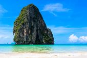 Pranang beach, Krabi, Thailand. Blue sky and clear azure water tropical landscape