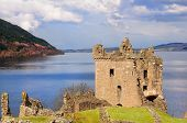 Urquhart Castle on Loch Ness in Scotland the home of the clan Grant, and the place of the most sight