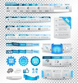 Collection of web elements, menu item, carousel, icons, ribbons, template for headers, footers,bar,