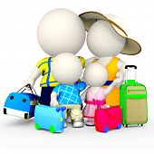 3D family going on vacations - isolated over a white background
